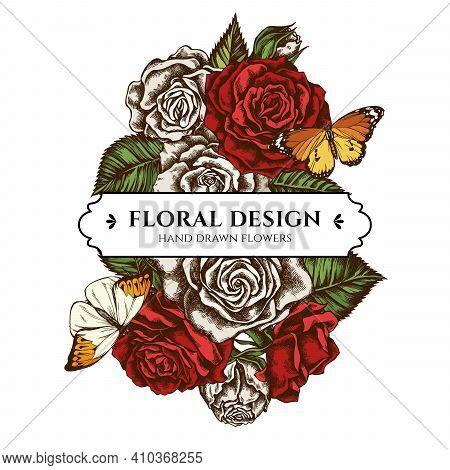 Floral Bouquet Design With Colored Great Orange-tip, Plain Tiger, Roses Stock Illustration