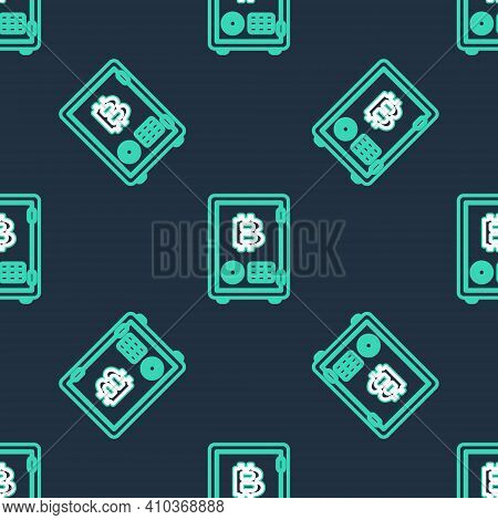 Line Proof Of Stake Icon Isolated Seamless Pattern On Black Background. Cryptocurrency Economy And F