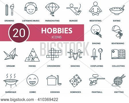 Activity And Hobbies Icon Set. Contains Editable Icons Activity And Hobbies Theme Such As Hiking, Do
