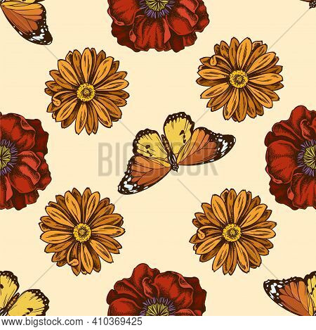 Seamless Pattern With Hand Drawn Colored Poppy Flower, Calendula, Plain Tiger Stock Illustration