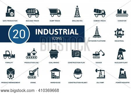 Industrial Icon Set. Contains Editable Icons Industrial Theme Such As Oil Pump, Power Industry, Coal
