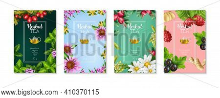Set Of Four Colorful Realistic Posters With Herbal Tea Types Ingredients And Weight Isolated Vector