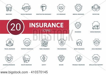 Insurance Icon Set. Contains Editable Icons Insurance Theme Such As Travel, Life Insurance, Property