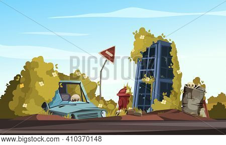 Post Apocalypse Cartoon Composition With Broken Car Near Bent Sign Road Closed And Destroyed Phone B