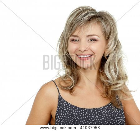 mid adult woman portrait, attractive caucasian middle 40 years old woman over white