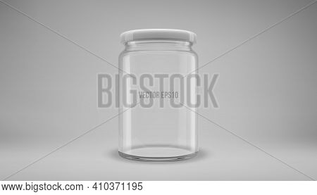 Glass Jam Jar With A Lid. A Transparent Jar With A White Lid. Realistic 3d Illustration. Vector.