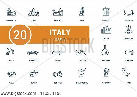 Italy Icon Set. Contains Editable Icons Italy Theme Such As Venice, Pisa, Gondola And More.