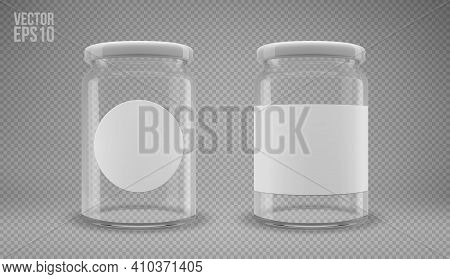 A Set Of Glass Jam Jars With Lids. A Transparent Jar With A White Lid And Labels. Realistic 3d Illus