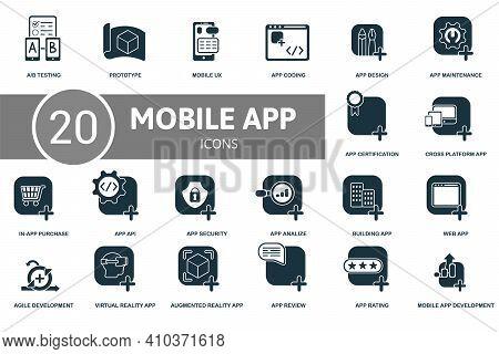 Mobile App Development Icon Set. Contains Editable Icons Mobile App Development Theme Such As Protot
