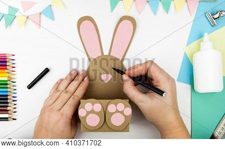 The Concept Of Crafts With Children For The Easter Holiday. Step-by-step Instructions For Making Cra