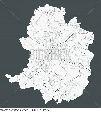 Bielefeld Map. Detailed Map Of Bielefeld City Administrative Area. Cityscape Panorama. Royalty Free