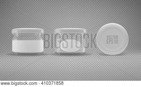 Set Of Small Glass Jam Jar With A Lid. A Transparent Jar With A White Lid And Labels. Realistic 3d I
