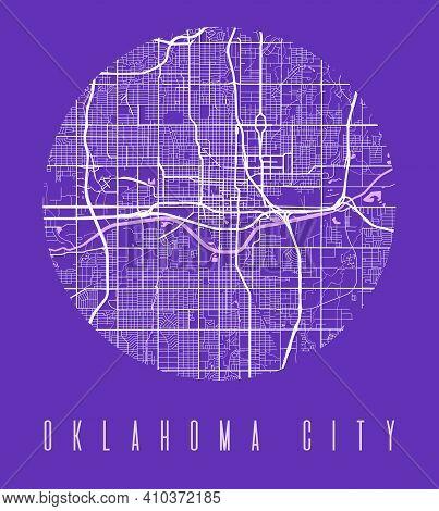 Oklahoma City Map Poster. Decorative Design Street Map Of Oklahoma City. Cityscape Aria Panorama Sil