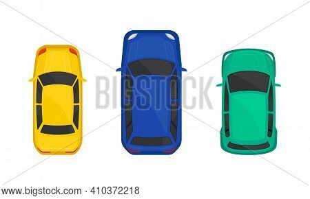 Cars Or Automobile As Wheeled Motor Vehicle Used For Transportation Above View Vector Set