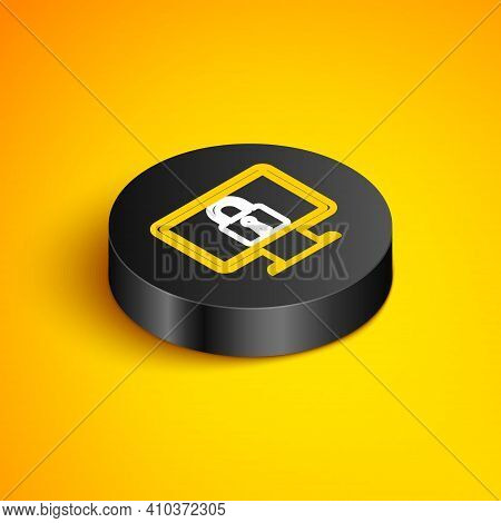Isometric Line Lock On Computer Monitor Screen Icon Isolated On Yellow Background. Monitor And Padlo