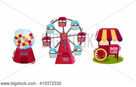 Circus Attribute With Popcorn Cart And Ferris Wheel Vector Set