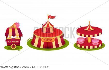 Circus Attribute With Striped Tent, Ice Cream Stall And Merry Go Round Vector Set