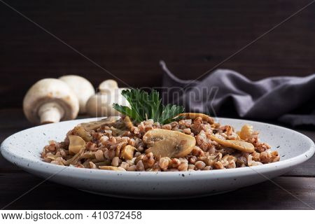 Boiled Buckwheat With Stewed Mushrooms. Russian Traditional Food. Healthy Diet Food.