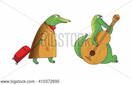 Cartoon Crocodile In Coat Pulling Luggage Bag And Playing Cello Vector Set