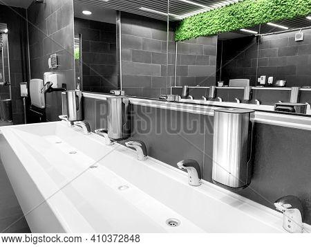 Wash basin in public toilet