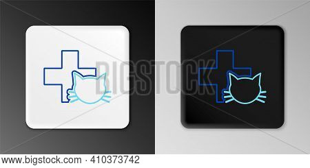 Line Veterinary Clinic Symbol Icon Isolated On Grey Background. Cross With Cat Veterinary Care. Pet