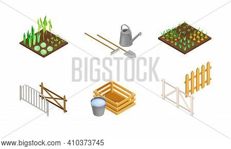 Vegetable Bed, Garden Implement With Shovel And Fence As Agricultural And Farming Industry Vector Is