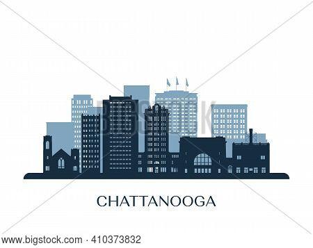Chattanooga Skyline, Monochrome Silhouette. Design Vector Illustration.