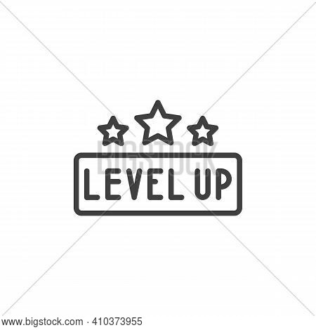 Level Up Stars Line Icon. Linear Style Sign For Mobile Concept And Web Design. Game Level Up Outline