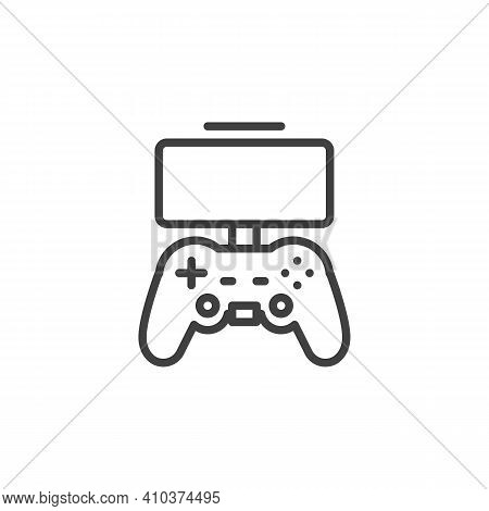 Mobile Gaming Controller Line Icon. Linear Style Sign For Mobile Concept And Web Design. Game Pad Wi