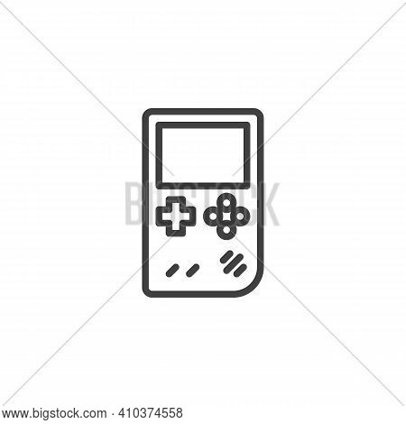 Handheld Game Console Line Icon. Linear Style Sign For Mobile Concept And Web Design. Portable Video