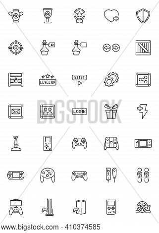 Video Game Line Icons Set. Linear Style Symbols Collection Outline Signs Pack. Vector Graphics. Set