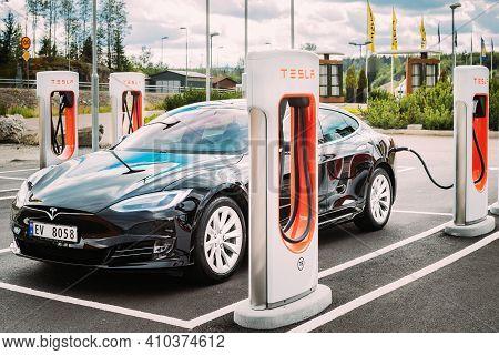 Tocksfors, Sweden- June 26, 2019: Tesla Model S 100d Car Parked At Charging Station. The Tesla Model