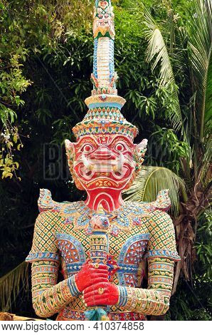 Colorful Statue Of Demon Guard, Multicolored Ornamental Statue Of Yaksha Demon Placed In Garden Of T