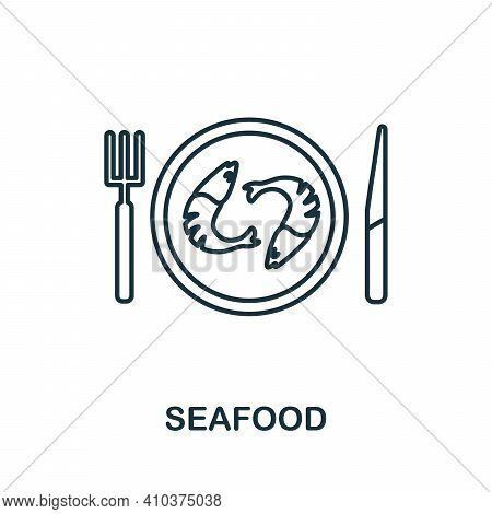 Seafood Icon. Simple Line Element Seafood Symbol For Templates, Web Design And Infographics