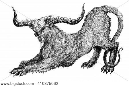 Demon Devil Damn Monster Fiend Of Hell Nightmare Creature From The Underworld A Beast With Horns