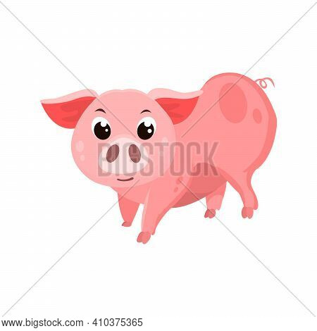 Pig Flat Icon. Colored Vector Element From Animals Collection. Creative Pig Icon For Web Design, Tem
