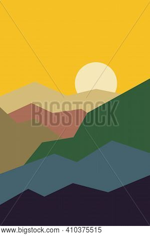 Yellow Sunny Sky. Brown, White, Green, Pink And Black Mountain Silhouette. Snowy Peaks. Abstract Tex