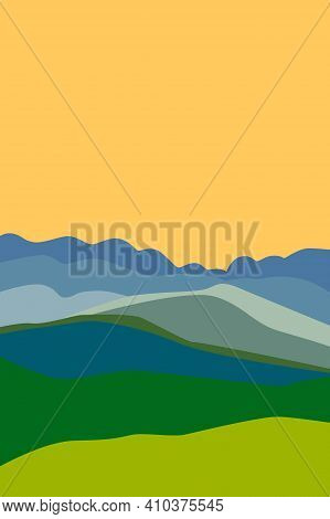 Yellow Sunny Sky. Blue, Gray And Green Mountain Silhouette. Snowy Peaks. Green Field Or Meadow. Abst