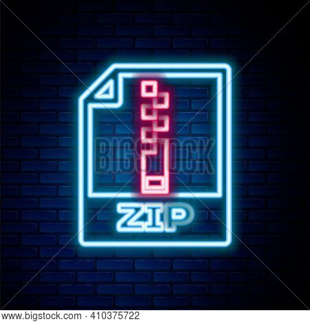 Glowing Neon Line Zip File Document. Download Zip Button Icon Isolated On Brick Wall Background. Zip