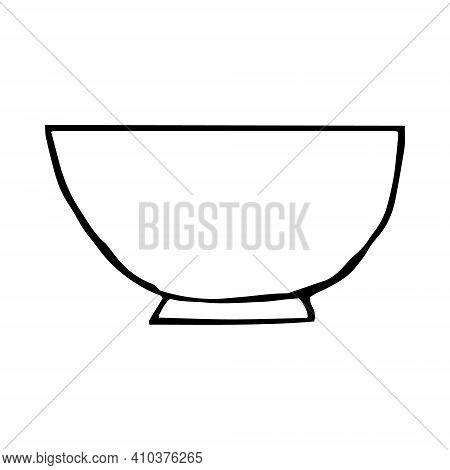 Bowl Icon, Sticker. Sketch Hand Drawn Doodle Style. Vector, Minimalism, Monochrome. Kitchen Dishes C