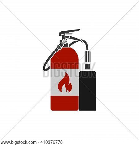 Realistic Vector Fire Extinguisher Icon. Portable Device For Extinguishing Fires By Releasing Stored