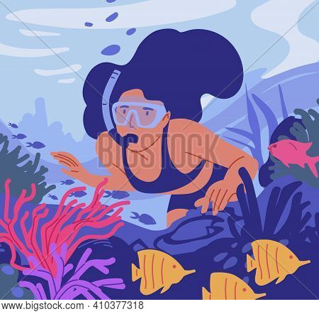 Young Woman In Diving Mask With Snorkel Swimming And Observing Coral Reef And Fishes At Sea Bottom.