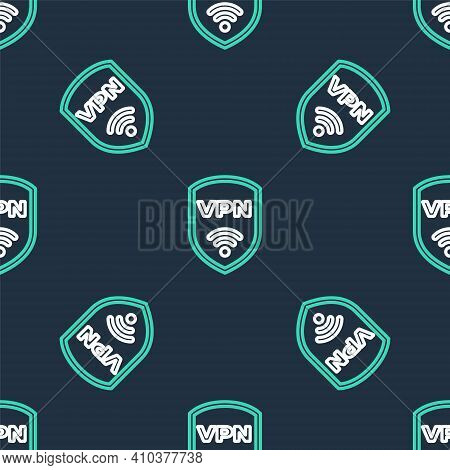 Line Shield With Vpn And Wifi Wireless Internet Network Symbol Icon Isolated Seamless Pattern On Bla