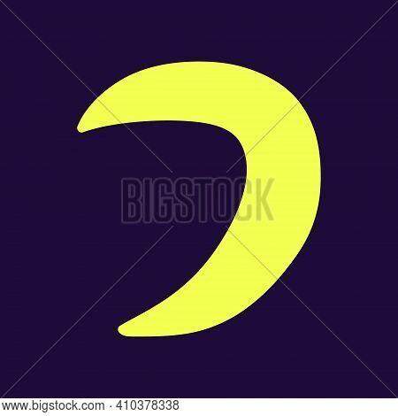 Crescent Moon Isolated. Astronomical Or Celestial Objects. Heavenly Bodies In Space. Vector Hand Dra