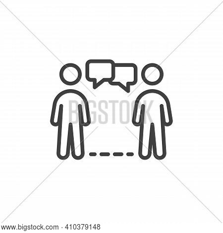 Social Distancing Conversation Line Icon. Linear Style Sign For Mobile Concept And Web Design. Peopl