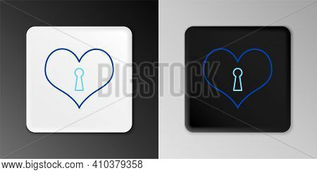 Line Heart With Keyhole Icon Isolated On Grey Background. Locked Heart. Love Symbol And Keyhole Sign