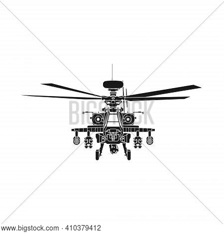 Realistic Vector Icon Military Attack Helicopter Military Air Forces Of The United States. Apache