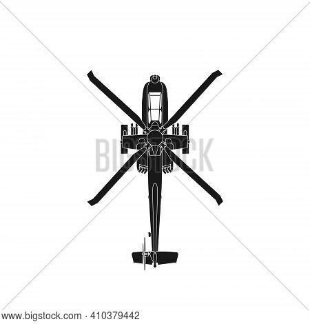Realistic Vector Icon Military Attack Helicopter Military Air Forces Of The United States. Apache. T