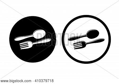Spoon And Fork Icon. Spoon And Fork In Circle Good For Restaurant. Food Icon Vector Illustration.