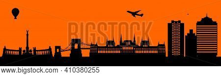 Vector City Skyline Silhouette - Illustration,  Town In Orange Background,  Budapest Hungary